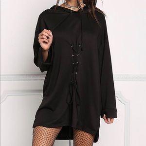 Dresses & Skirts - Black Lace Up Hooded Shift Dress